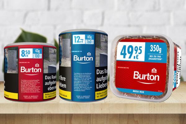 Burton Tabak alle Sorten mit Farben
